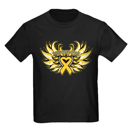 Childhood Cancer Heart Wings Kids Dark T-Shirt