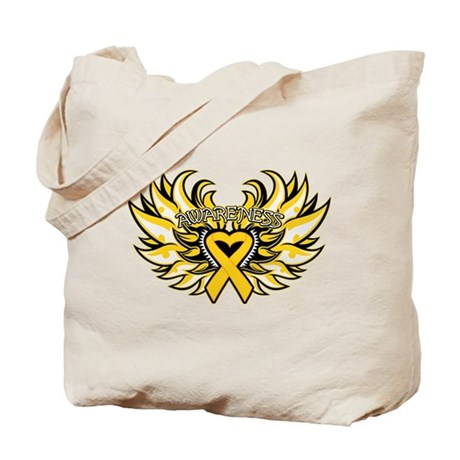 Childhood Cancer Heart Wings Tote Bag