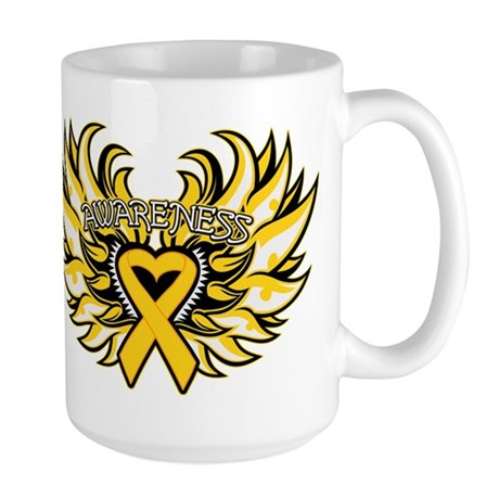 Childhood Cancer Heart Wings Large Mug
