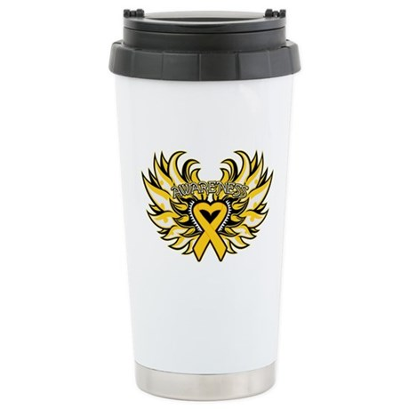 Childhood Cancer Heart Wings Ceramic Travel Mug