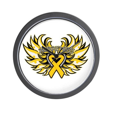 Childhood Cancer Heart Wings Wall Clock