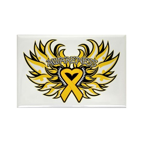 Childhood Cancer Heart Wings Rectangle Magnet