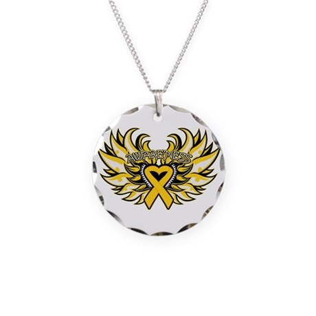 Childhood Cancer Heart Wings Necklace Circle Charm