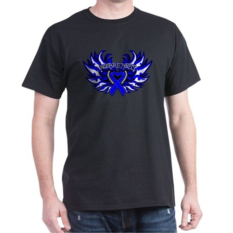 Colon Cancer Heart Wings Dark T-Shirt