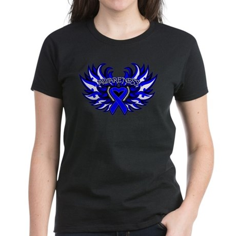 Colon Cancer Heart Wings Women's Dark T-Shirt