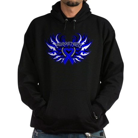 Colon Cancer Heart Wings Hoodie (dark)