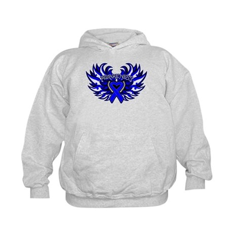 Colon Cancer Heart Wings Kids Hoodie