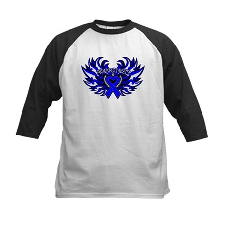 Colon Cancer Heart Wings Kids Baseball Jersey