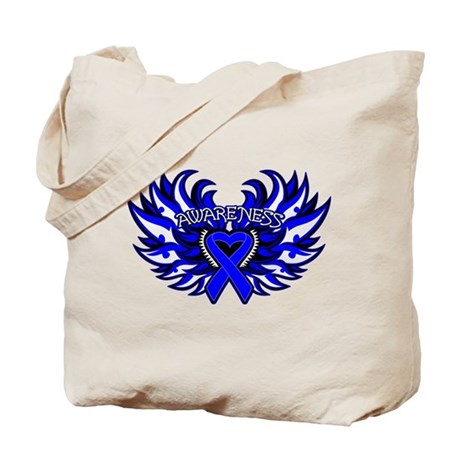 Colon Cancer Heart Wings Tote Bag