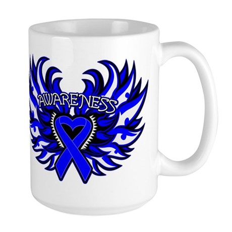Colon Cancer Heart Wings Large Mug