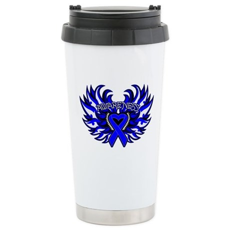 Colon Cancer Heart Wings Ceramic Travel Mug