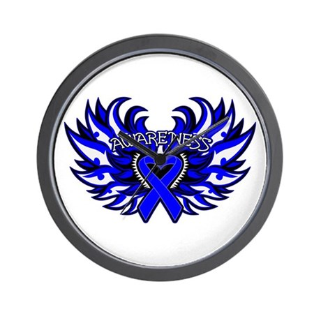 Colon Cancer Heart Wings Wall Clock