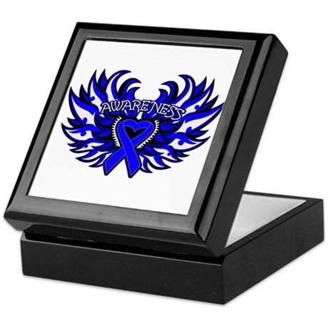 Colon Cancer Heart Wings Keepsake Box