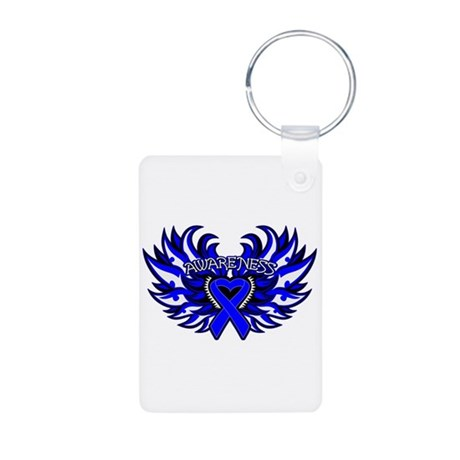 Colon Cancer Heart Wings Aluminum Photo Keychain