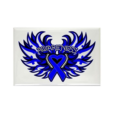Colon Cancer Heart Wings Rectangle Magnet