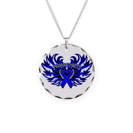 Colon Cancer Heart Wings Necklace Circle Charm
