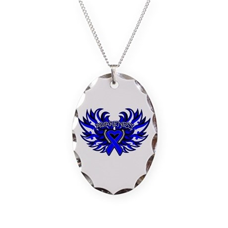 Colon Cancer Heart Wings Necklace Oval Charm