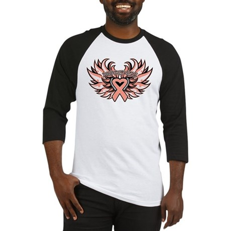 Endometrial Cancer Heart Wings Baseball Jersey
