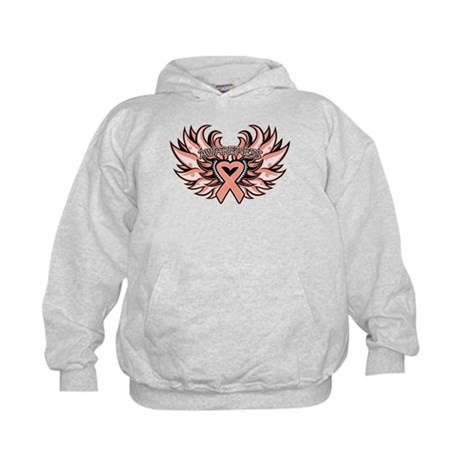Endometrial Cancer Heart Wings Kids Hoodie