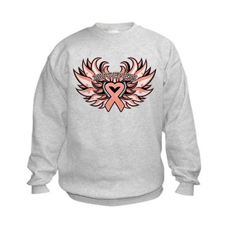 Endometrial Cancer Heart Wings Kids Sweatshirt
