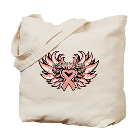 Endometrial Cancer Heart Wings Tote Bag