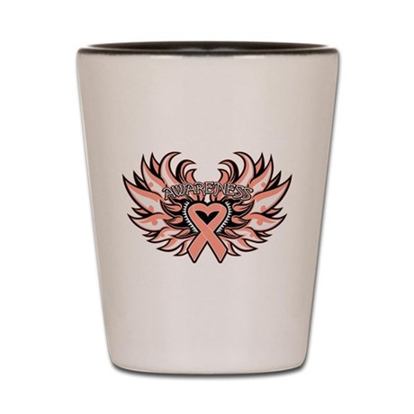 Endometrial Cancer Heart Wings Shot Glass