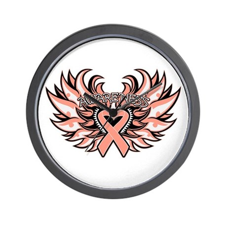 Endometrial Cancer Heart Wings Wall Clock