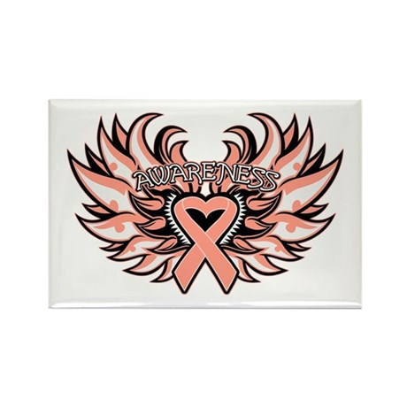 Endometrial Cancer Heart Wings Rectangle Magnet