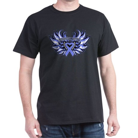 Esophageal Cancer Heart Wings Dark T-Shirt