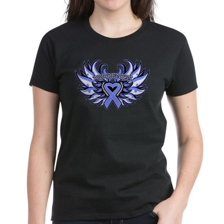 Esophageal Cancer Heart Wings Women's Dark T-Shirt