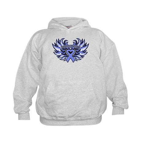 Esophageal Cancer Heart Wings Kids Hoodie