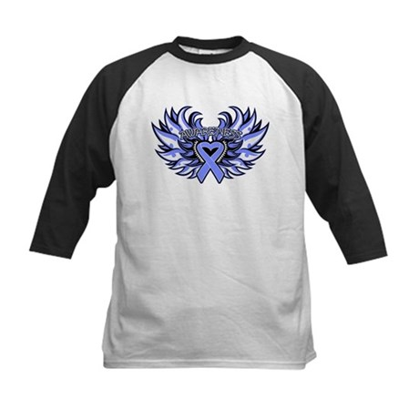 Esophageal Cancer Heart Wings Kids Baseball Jersey