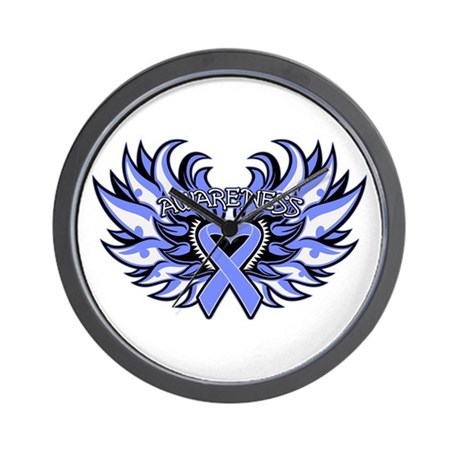 Esophageal Cancer Heart Wings Wall Clock