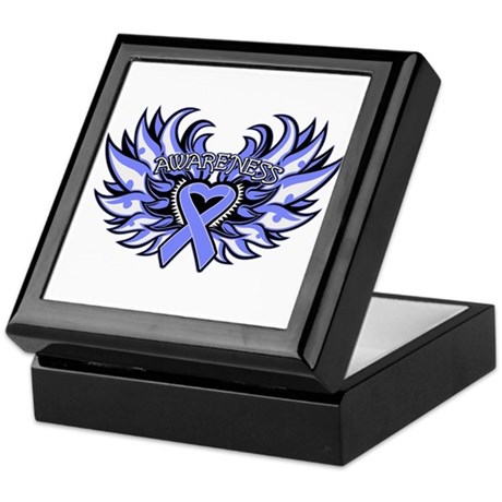 Esophageal Cancer Heart Wings Keepsake Box