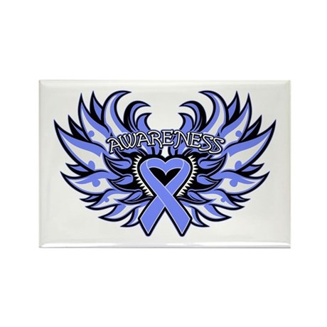 Esophageal Cancer Heart Wings Rectangle Magnet
