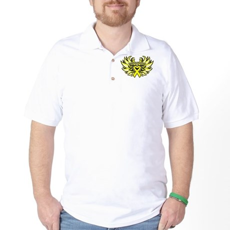 Ewings Sarcoma Heart Wings Golf Shirt