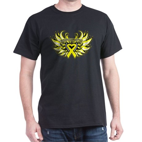Ewings Sarcoma Heart Wings Dark T-Shirt