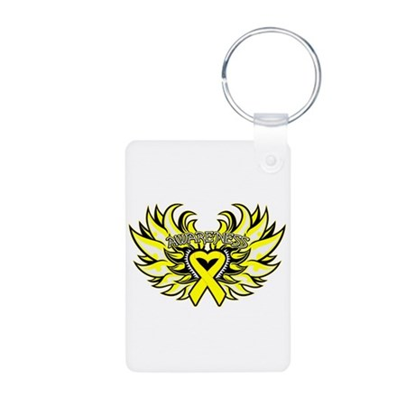 Ewings Sarcoma Heart Wings Aluminum Photo Keychain