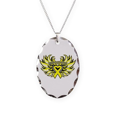 Ewings Sarcoma Heart Wings Necklace Oval Charm