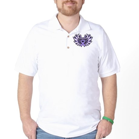 General Cancer Heart Wings Golf Shirt