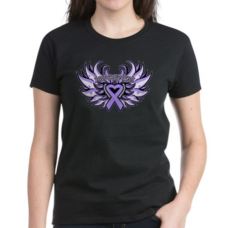 General Cancer Heart Wings Women's Dark T-Shirt