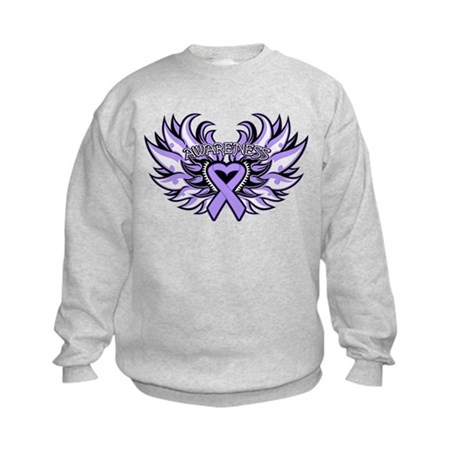General Cancer Heart Wings Kids Sweatshirt