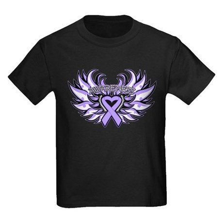 General Cancer Heart Wings Kids Dark T-Shirt