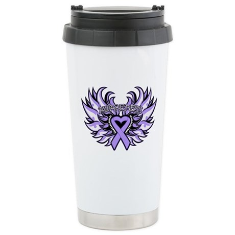 General Cancer Heart Wings Ceramic Travel Mug