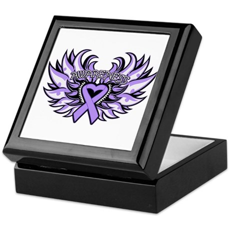 General Cancer Heart Wings Keepsake Box