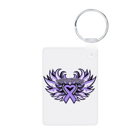 General Cancer Heart Wings Aluminum Photo Keychain