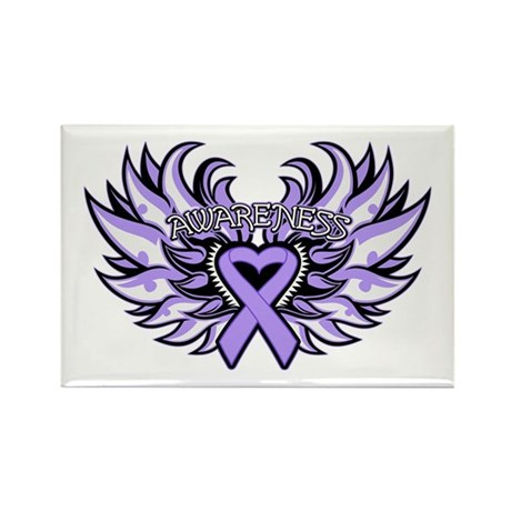 General Cancer Heart Wings Rectangle Magnet