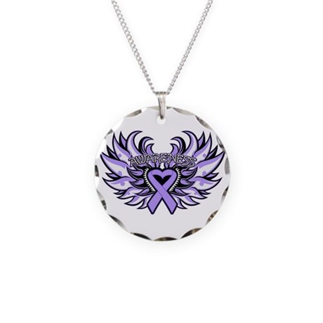 General Cancer Heart Wings Necklace Circle Charm