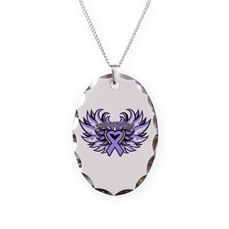 General Cancer Heart Wings Necklace Oval Charm