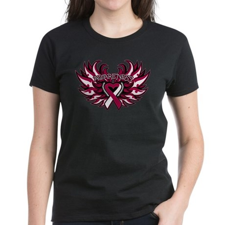 Head Neck Cancer Heart Wings Women's Dark T-Shirt